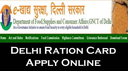 Apply Ration Card Online in Delhi